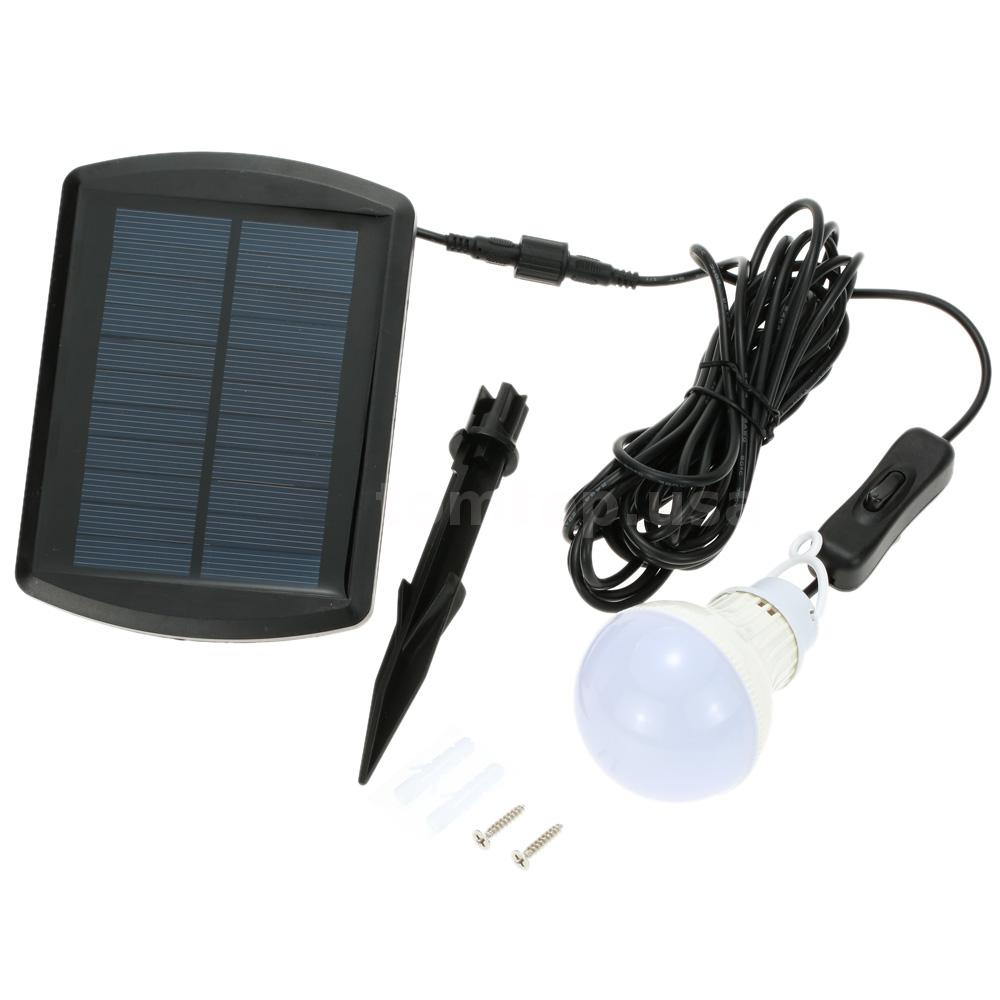 Solar Panel Powered Rechargeable 5 LEDs 100LM Bulb Shed